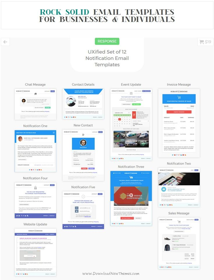 Response is a UXified Set of 12 #Notification #Email Templates + ...