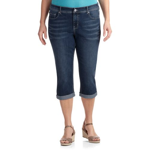 e9848a1381 Faded Glory Women's Plus-Size Embellished Denim Capris with Bling Back  Pockets: Women's Plus : Walmart.com