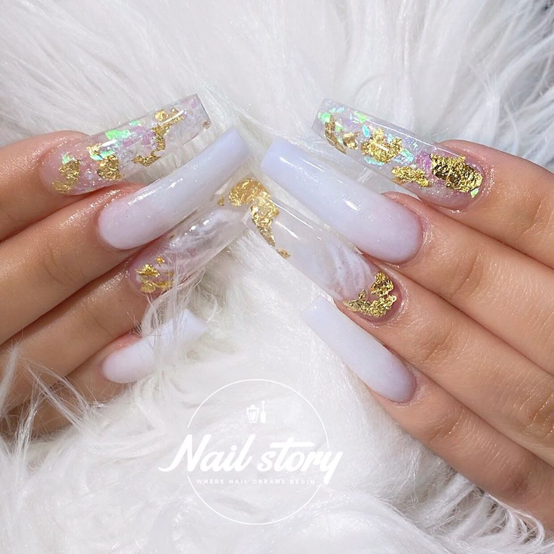 Nail Story Of Chino Hills On Instagram Soft Touch Milky White Coffin Nail In 2020 White Acrylic Nails Gold Acrylic Nails White Nails With Gold