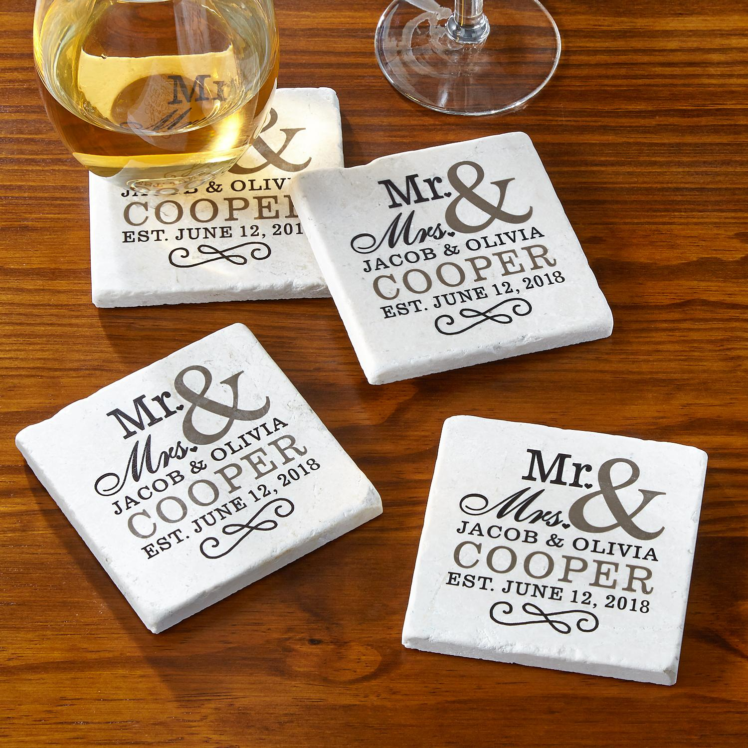 Personalized happy couple tile coaster set personal creations