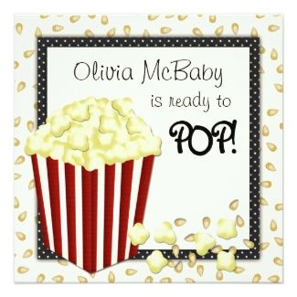 Cute popcorn baby shower invitations shes ready to pop baby cute popcorn baby shower invitations shes ready to filmwisefo Images