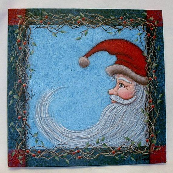 reserved for leanne ellis santa painting hand painted. Black Bedroom Furniture Sets. Home Design Ideas