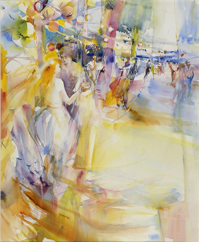 Montecot Bal A Vahour Aquarelle Abstrait Peinture