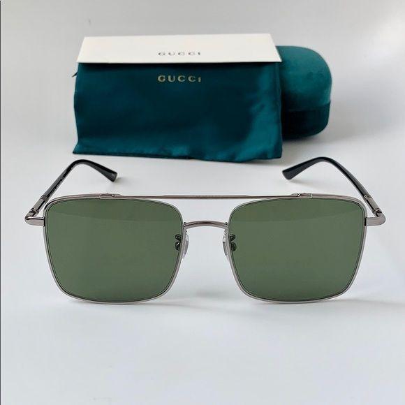 Gucci Sunglasses GG0610SK 003 Ruthenium /Green Gucci Sunglasses GG0610SK 003 Rut…