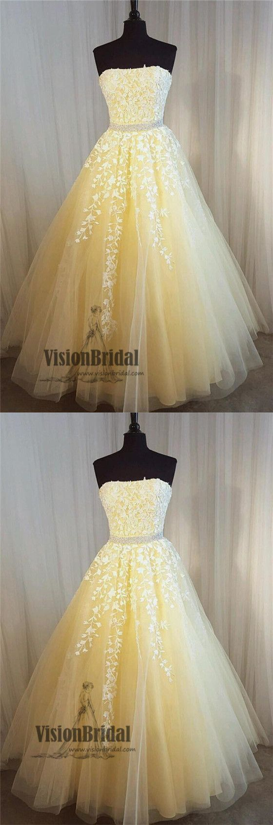 Unique yellow straight neckline with lace appliques beading long