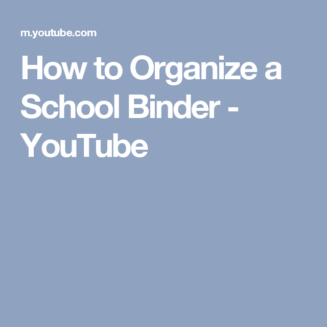How To Organize A School Binder - YouTube