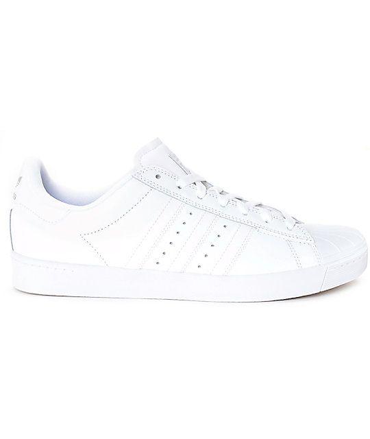 best service f0101 4e559 adidas Superstar Vulc ADV All White Shoes