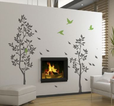 Trees With Falling Leaves Wall Sticker   Zazous.co.uk Part 67