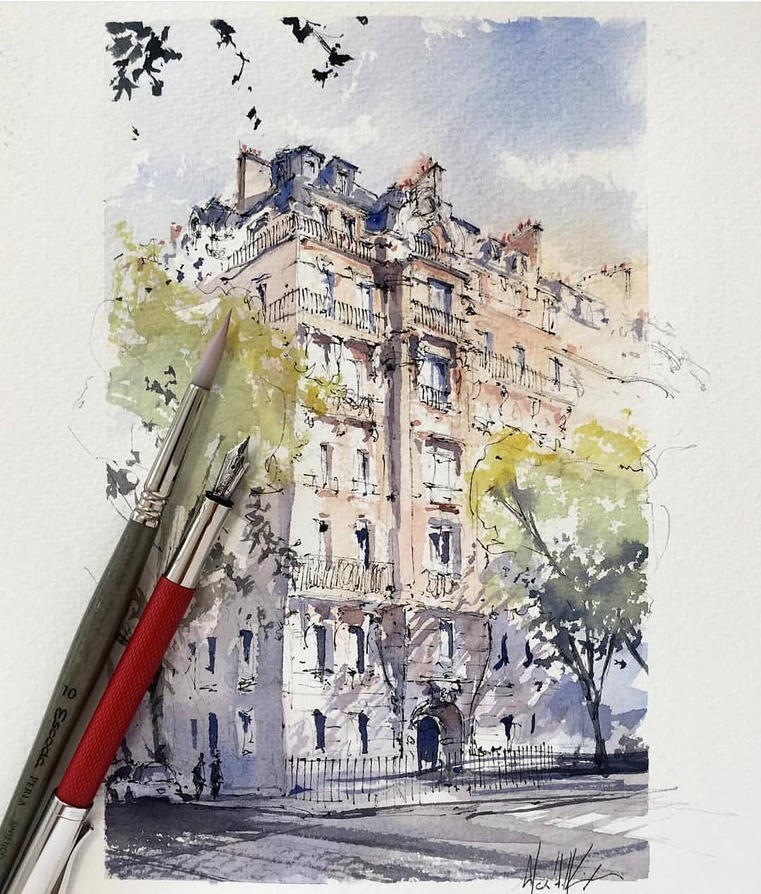 Watercolor By Alex Hillkurtz Watercolor Architecture