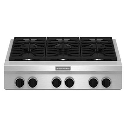 Kitchenaid 36 Inch Gas Commercial Style Rangetop With Six Burners Stainless Steel In 2020 Stainless Steel Cooktop Gas Cooktop Kitchen Aid