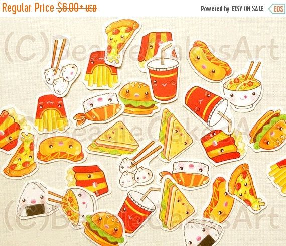 SALE Food Planner Stickers. Kawaii Hamburger & Fries Sticker. Pizza Stickers. Filofax Sticker. Erin Condren Stickers. ECLP. SCrapbooking. Fa