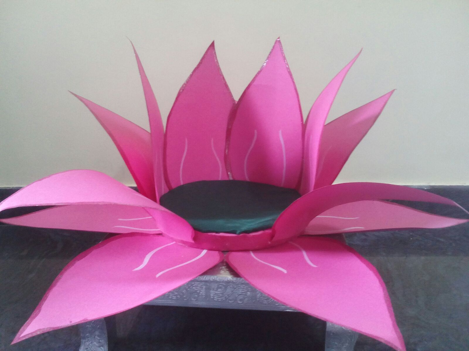 How to make lotus flower with paper for ganpati decoration create a lotus for varalakshmi vratam to place ammavaaru varalaks mightylinksfo