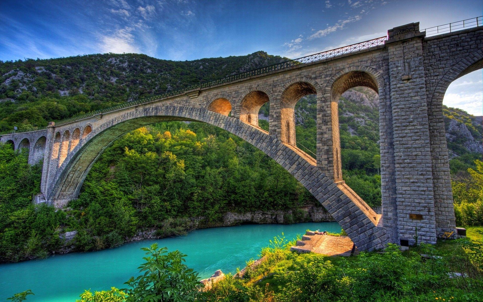 Nature, Landscape, Bridge, Architecture, River, Mountain, Forest