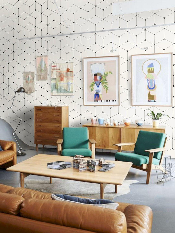 Geometric Wallpaper, cube wallpaper, Isometric Wallpaper, Gray geometric cubes pattern, minimalist wallpaper is part of Mid century modern living room - www wallpapersforbeginners com