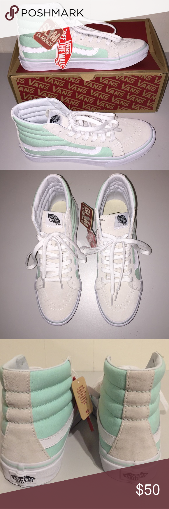d5164316a8dd7b NWT Vans SK8-Hi Slim Bay True White Very pretty and cool mint green color. Vans  Shoes Sneakers