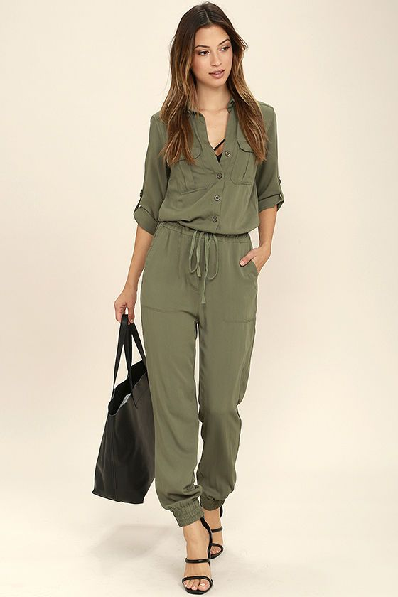 77fb8989df7 Function and fashion become one with the Sensible Solution Olive Green  Jumpsuit! This woven jumpsuit has a collared neckline
