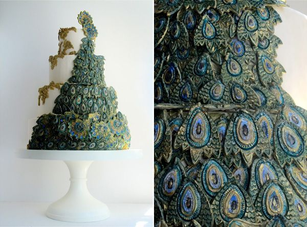 Peacock Feather Wedding Cake By Maggie Austin Cakes Other - Austin Wedding Cake