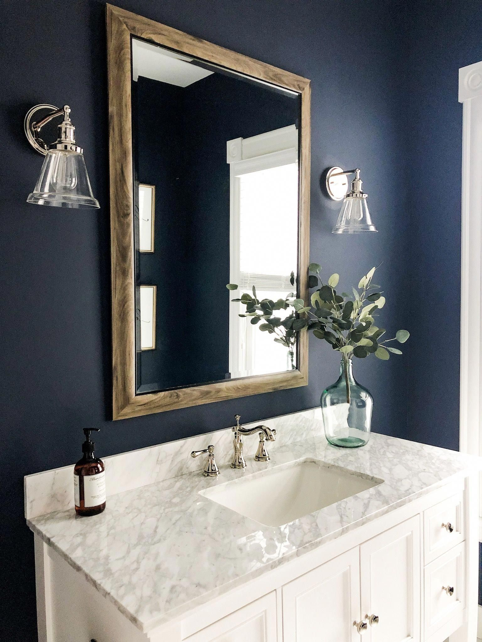 Deep Blue Bathroom Paint Color Powder Room Decor Bonus Bathroom Inspiration Half Bath Inspi Bathroom Paint Colors Blue Powder Room Decor Blue Bathroom Paint