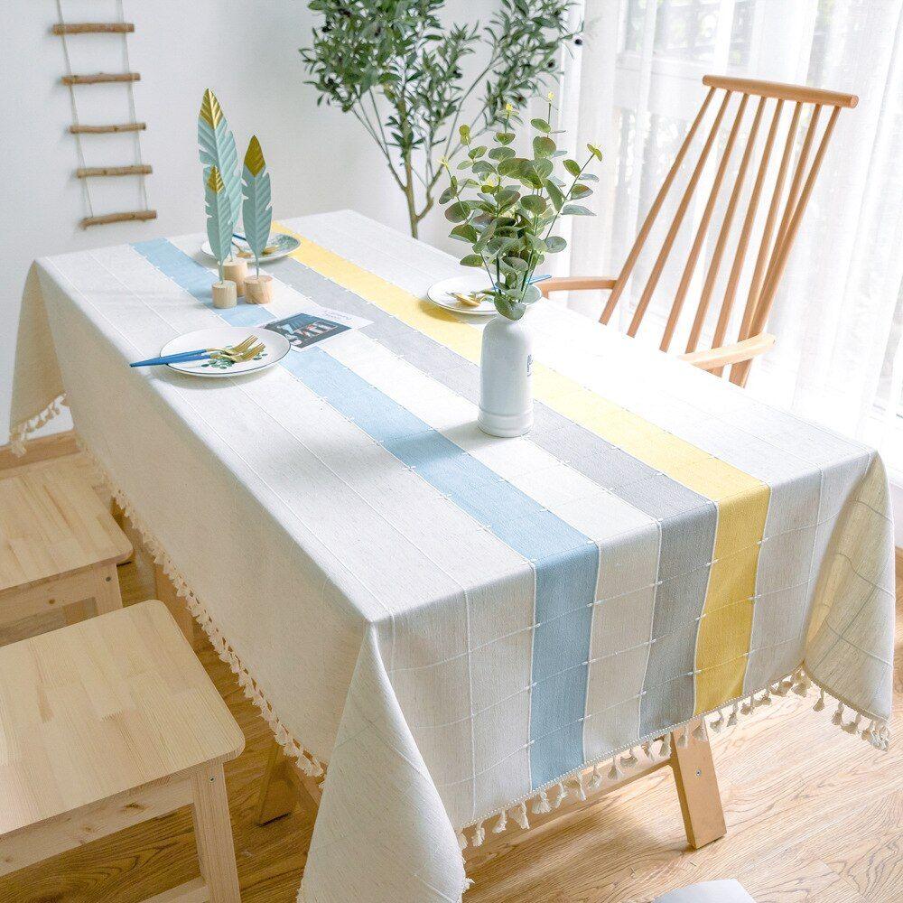 Modern Simple Lattice Rectangular Cloth Tablecloth On The Decoration Table Cover Cloth Coffee Dining Table Cloth Table Cloth Decor [ 1000 x 1000 Pixel ]
