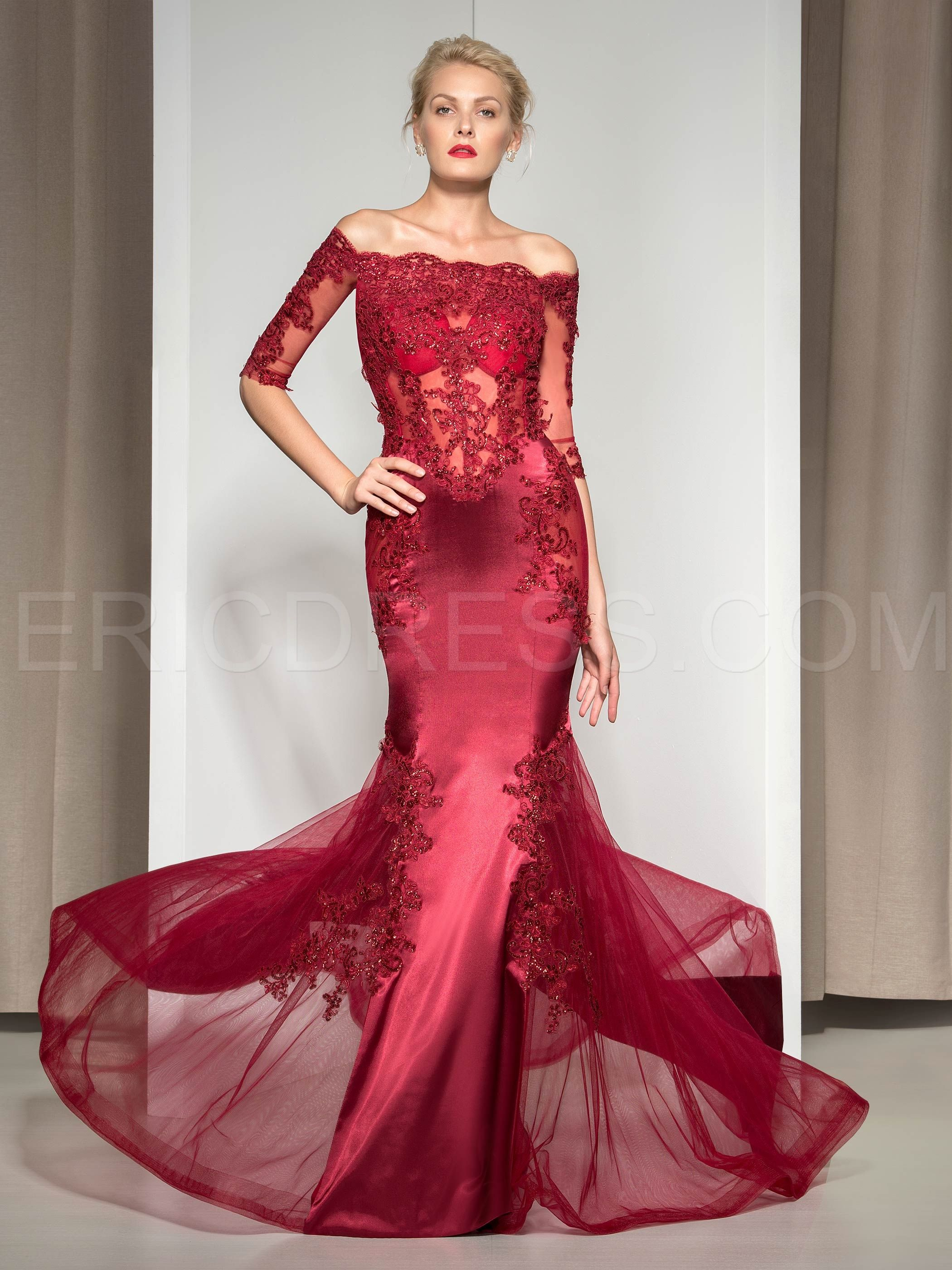 81b1673430e8 ericdress.com offers high quality Ericdress Off-The-Shoulder Appliques  Sequins Mermaid Evening Dress Vintage Evening Dresses unit price of $  134.99.