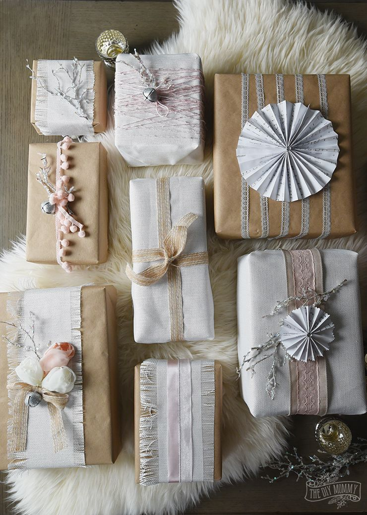 shabby chic christmas present wrapping ideas vintage inspired pink kraft white linen sparkly diy gifts