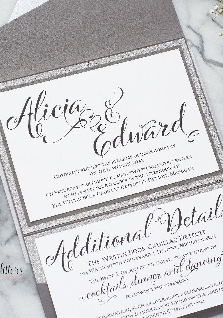 The Alicia Suite, A Glam Glitter Wedding Invitation by | Silver ...
