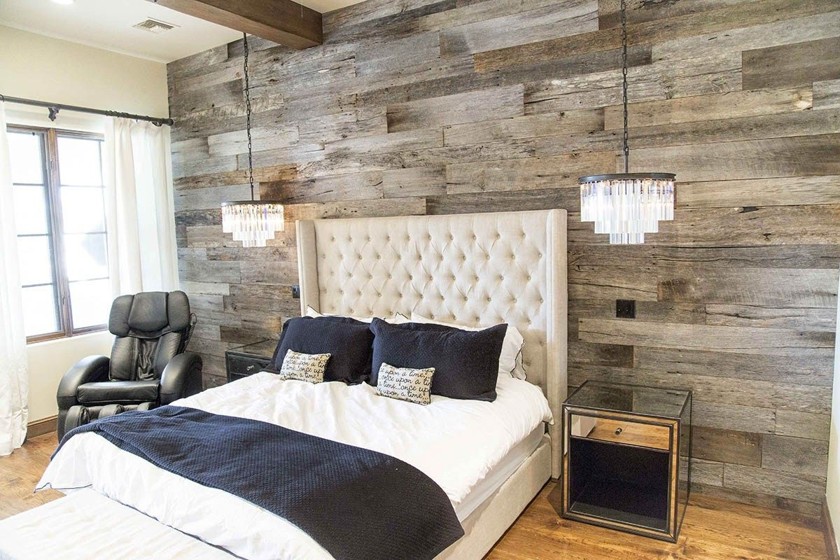 Pbw tobacco barn grey wood wall master bedroom master - Wall hangings for bedroom ...