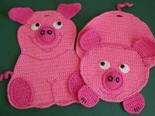 Süße Sauerei für die Küche! Häkelanleitung - Topflappen - Wandbild - Dekoration / Ebook Schwein Pinkie und Purzel