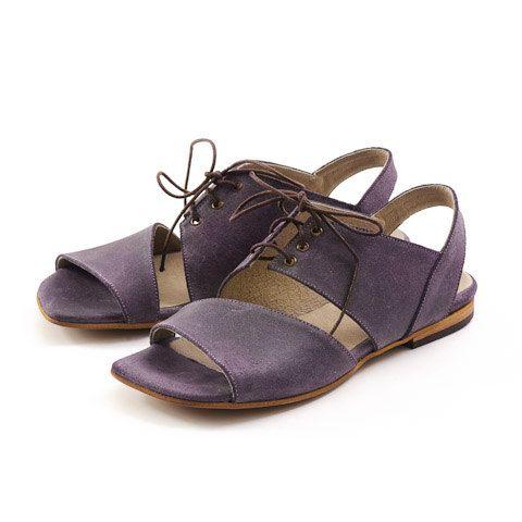 flat sandals women leather sandals purple sandals by MYKAshop, $99.00