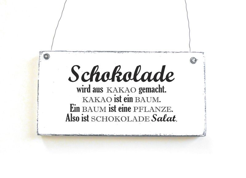 schild schokoladensalat dekoschild vintage shabby von d rpkind auf. Black Bedroom Furniture Sets. Home Design Ideas