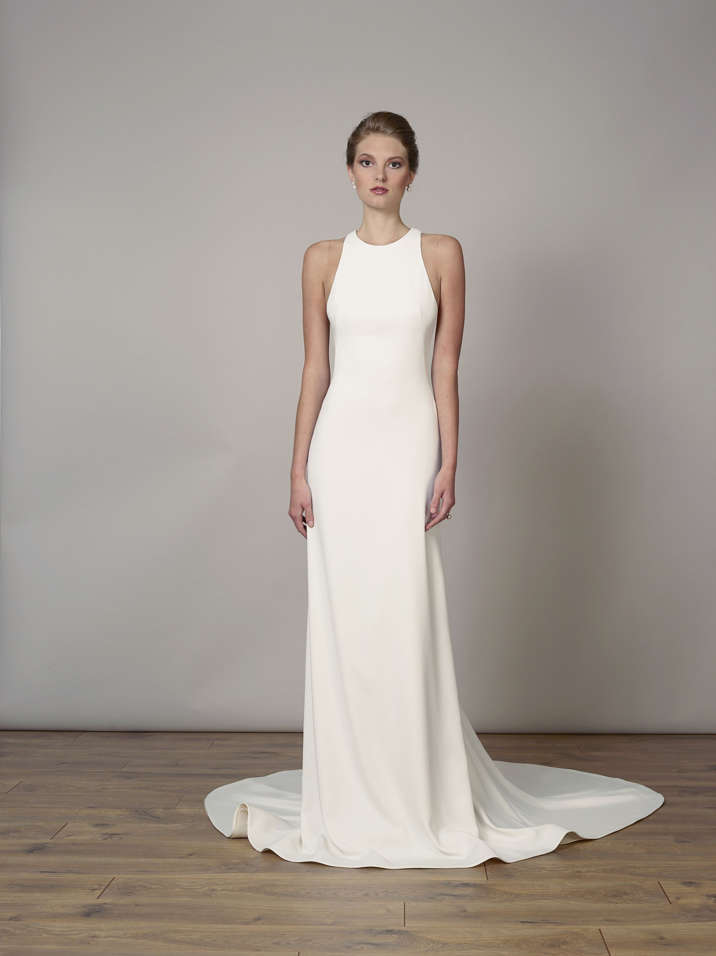c3e2f6c5 Style 7830 | Matte crepe high-neck sheath gown with open back detail ...