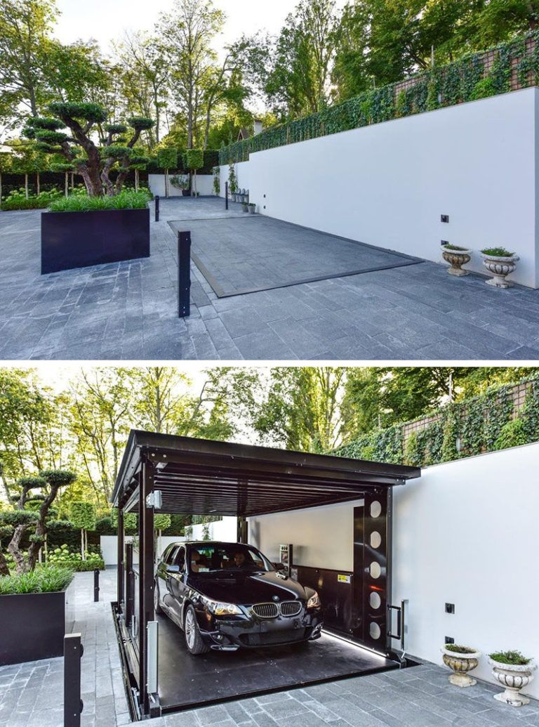 This disappearing garage lowers into the ground and