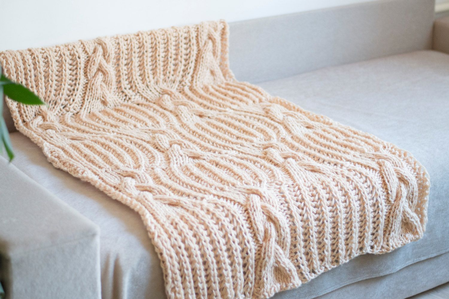 Beige knit baby blanket knitted blanket baby shower gift hand knitted blanket wool throw kids blanket kids warm blanket onward onward