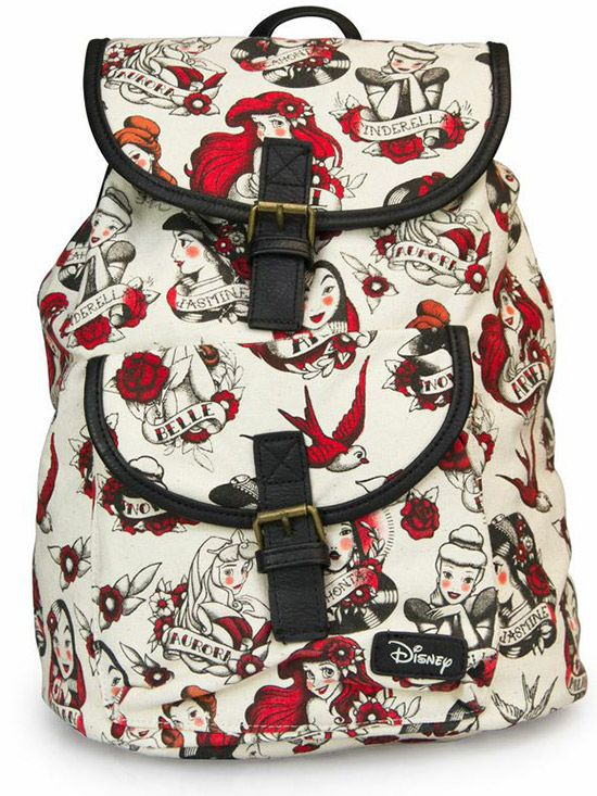 Disney Princess Tattoo Backpack By Loungefly Biege Inked Bag Bookbag B2s Backtoschool Style Fashion