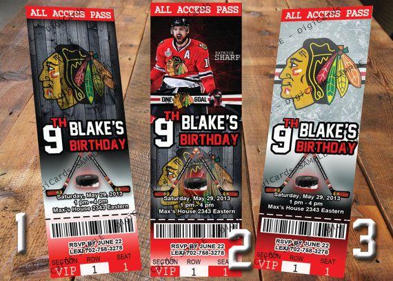 Chicago Themed Wedding Invitations: Chicago Blackhawks Hockey Invitation/Ticket
