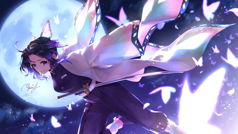 Anime Demon Slayer Kimetsu No Yaiba Shinobu Kochou Wallpaper Anime Fantasy Anime Wallpaper Anime Demon
