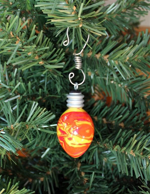 Hand Turned Acrylic Ornament Handcrafted Red Orange Yellow Holiday Light Bulb High Gloss Handcrafted Ornaments Christmas Tree Ornaments Holiday Lights