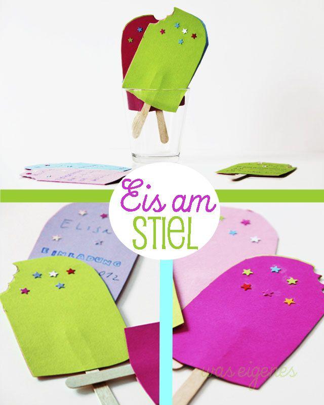 Was Eigenes DIY Birthday Invitation Eis Am Stiel PopsicleGeburtstag Einladung Iniviation Popsicle EisamStiel