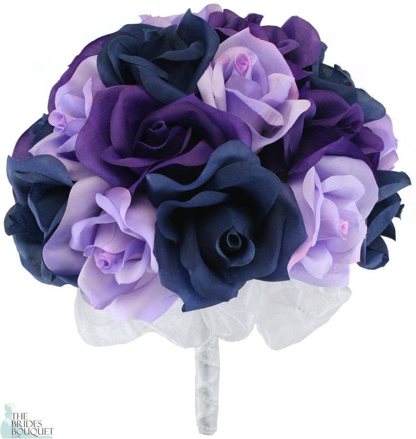 Navy blue lavender and purple silk rose hand tie 2 dozen Navy purple color