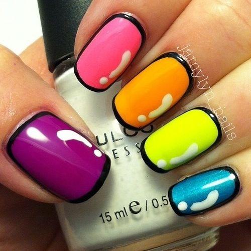 25 Trendy Neon Nail Art Designs Unghie Unghie Multicolore