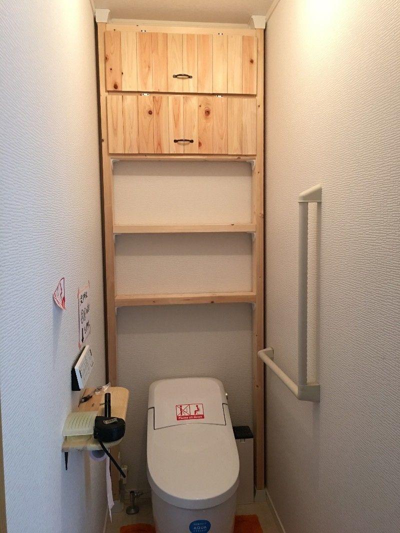 現状回復可 トイレの棚をディアウォールで作ってみました トイレ