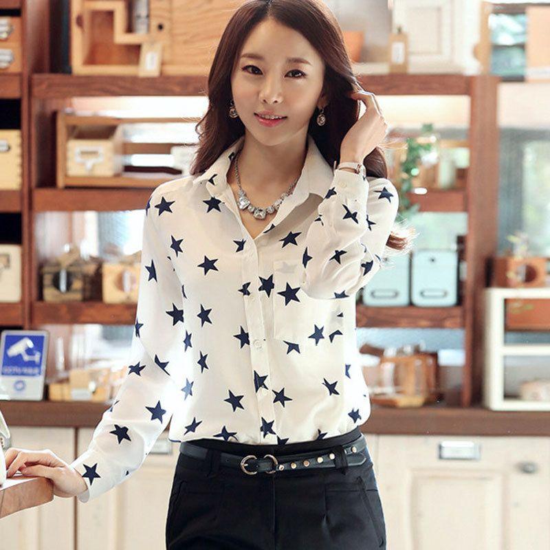 9471a7a63 Mujer primavera verano 2015 de manga larga estrella impreso gasa blusa  Vintage de la marca mujer elegante camisa ropa barata China(China  (Mainland))