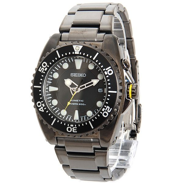 montre de plong e seiko diver kinetic bracelet acier ion plated water resistant 20 atm 200. Black Bedroom Furniture Sets. Home Design Ideas