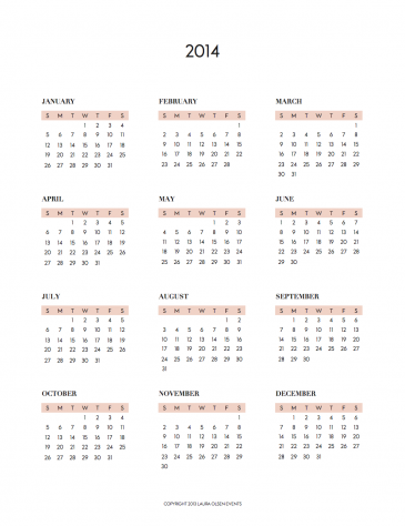 Free Printable Calendar 2014 Year At A Glance Preschool January