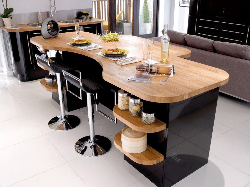 Bois et noir cuisines pinterest searching - Table bois et noir ...