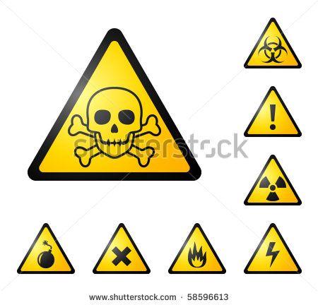 Warning Signs Symbols Danger Poison Skull Crossbones Bio Hazard Electricity High Voltage Chemical Waste Radioa Symbols Icon Set Vector Hazard Symbol