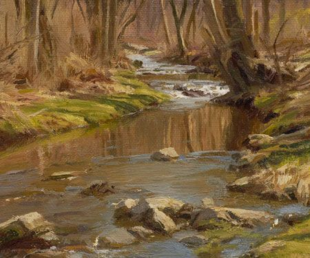 detail of painting titled march greens by the stream