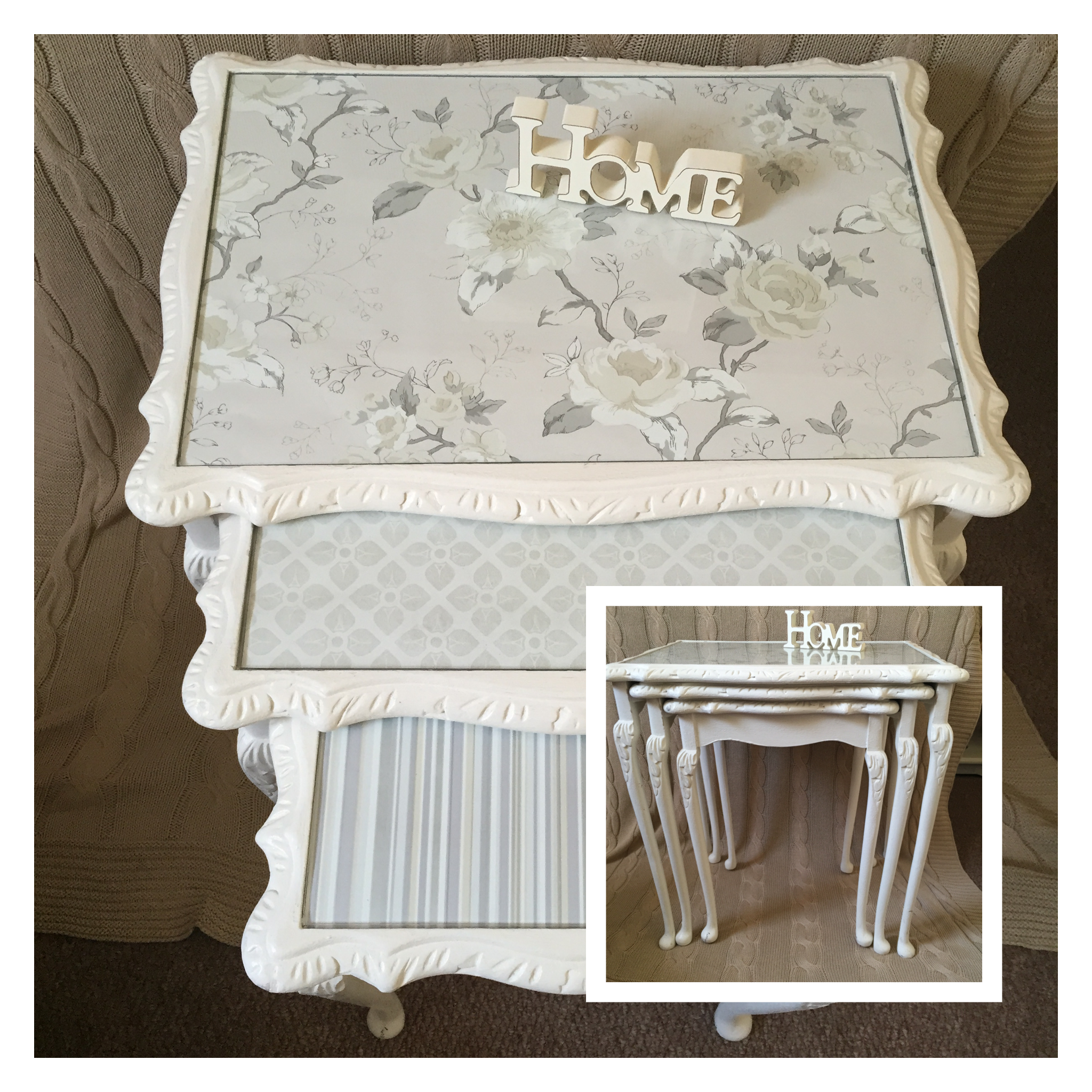 Vintage nesting tables, painted with chalk paint, waxed. I used good quality wallpaper as an ...