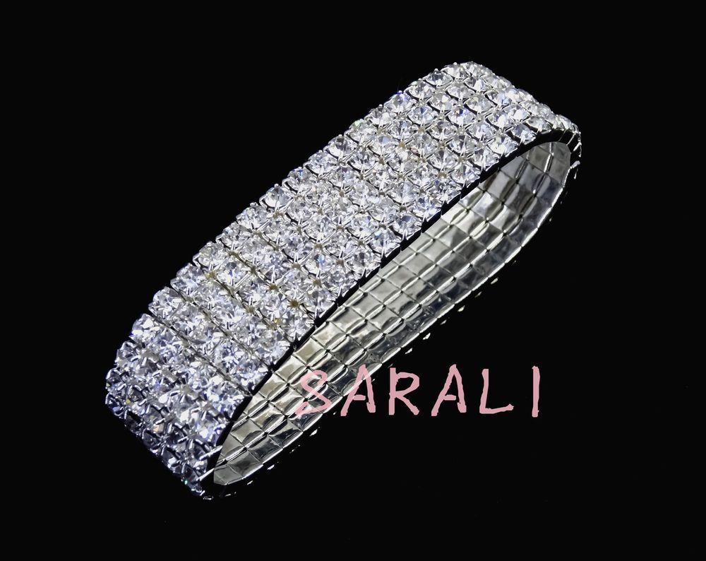 Wedding Bridal Bridesmaid Diamante Crystal Wrist Corsage STRETCHY Bracelet  #Sarali
