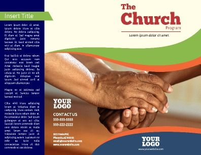 Front and back, half-fold, Church Program Brochure Use for - church program